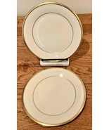 """Lenox Eternal Set of 2 Salad Plates 8 1/8"""" Ivory Gold Trim Made in USA - $37.39"""