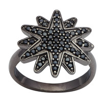 Double Star Shape Black Spinel Gemstone 925 Sterling Silver Jewelry For ... - $30.36