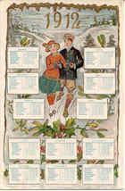 New Year Calendar vintage 1912 German Post Card - $15.00