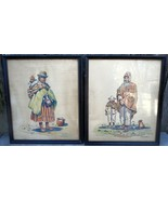 Vintage Watercolor Set Latin American Man & Woman SIGNED E. AMORETTI - $70.00