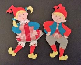 HANDMADE SCANDINAVIAN Pair of Dancing Elves Vintage Christmas 1950s - $29.00