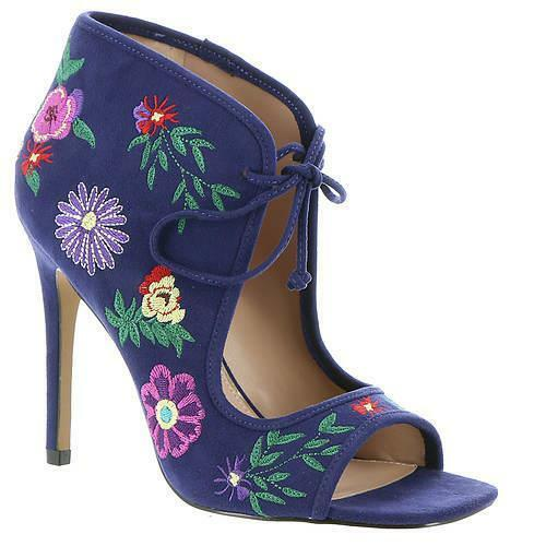 Betsey Johnson Caira Embroidered Floral Navy Blue Peep-Toe Booties High Heel NEW
