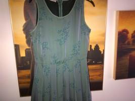 Armani silk green long dress pleated skirt  lined in silk IT 40, UK 6-8 image 4
