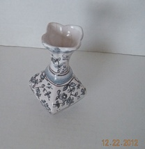 Portuguese Conimbriga  Mini Pottery Vase Hand Painted Blue White Signed - $9.99