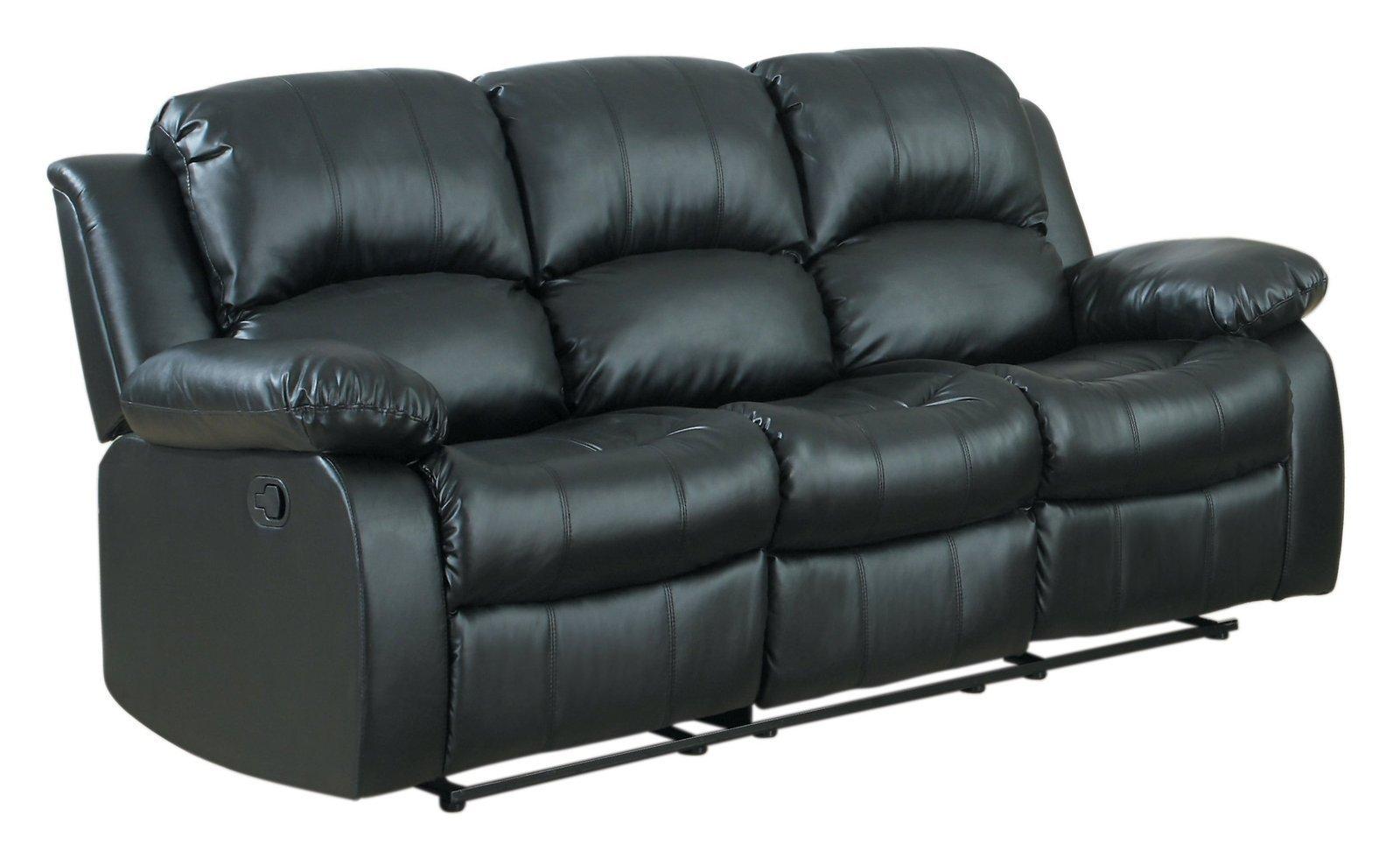 "Homelegance Resonance 83"" Bonded Leather Double Reclining Sofa, Black - $1,367.19"