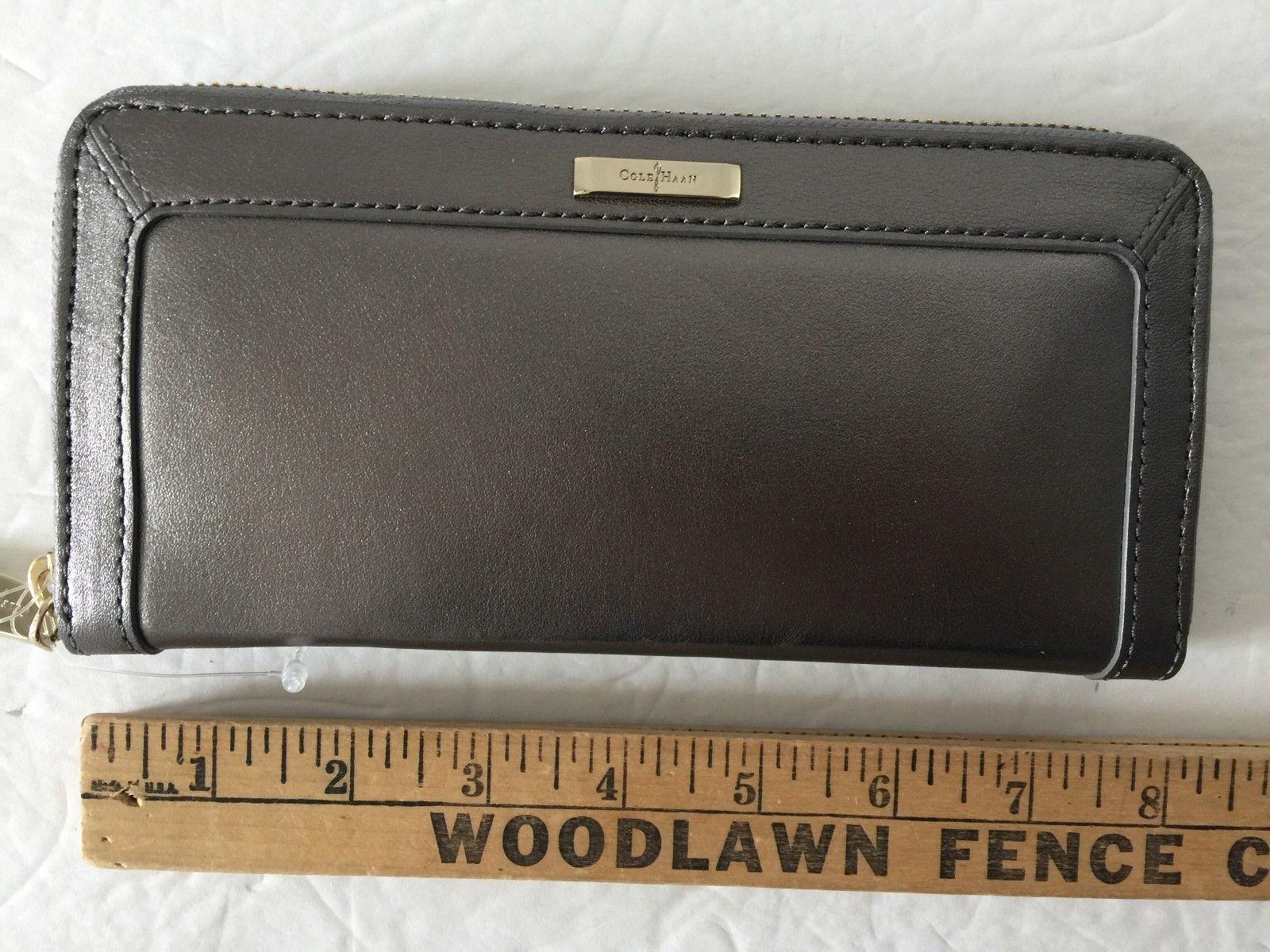 ce1681170b2 Cole Haan Pewter Dark Grey Gray Leather Zip Around Wallet Clutch 8