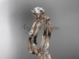 14k rose gold diamond vine wedding ring set ADLR38S - $1,425.00