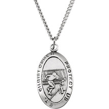 Sterling Silver St. Christopher Football Medal Necklace - $78.99