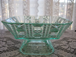 Antique Eapg Valencia Waffle Apple Green Footed Dish - $25.00