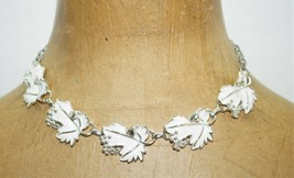 Vintage Sarah Coventry White Enamel Leaves Grapes Silver Tone Choker Necklace - $25.00