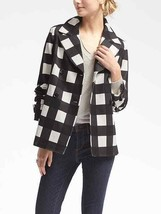 Banana Republic Gingham Double-Breasted Jacket, Black, Lined, Size M, Pr... - $85.50
