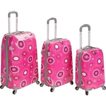Pink Suitcase Set 3 Piece Upright Rolling Spinner Luggage Lightweight Po... - $365.59