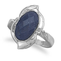 Sterling Silver Leaf and Vine Design Ring With Sapphire - €49,92 EUR