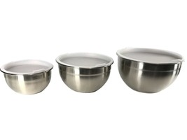 CUISINART SB-302NLP Stainless Steel Bowls with Lids, Set of 3 - $19.19