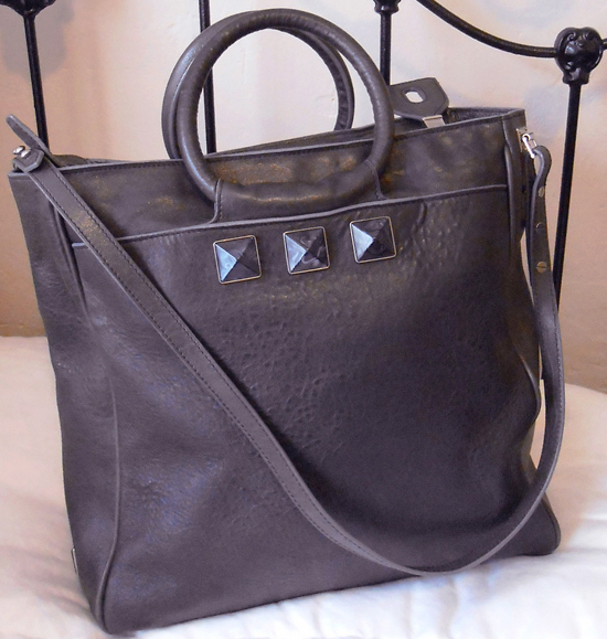 Marc Jacobs Charcoal Gray Carter Rocket Messenger Studded Stones Bag $1395 TPF