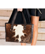 Cowhide Fur Leather Bag Animal Print Leather Tote Brown White Hide Shoul... - $143.45+