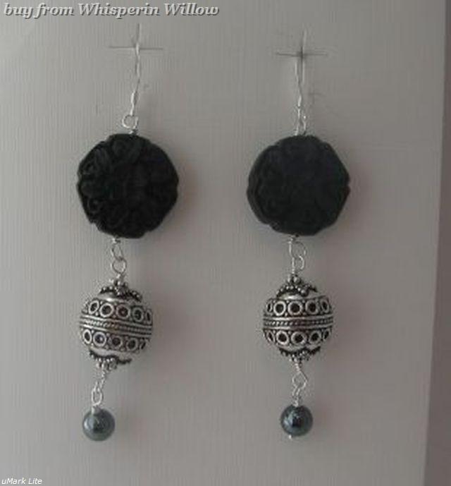 Black cinnabar bali drop earrings 1