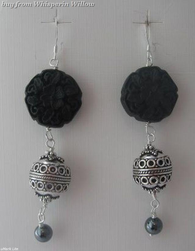 Carved Black Cinnabar Bali Drop Earrings