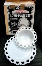 Vintage Anchor Glass Milk Lace BOWL/PLATE Set w/BOX - $124.95