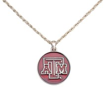 Texas A&M Aggies Translucent Enamel Maroon Silver Charm Necklace Jewelry... - $12.65