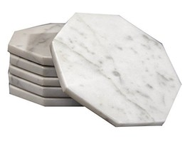 Set of 6 - White Marble Stone Coasters Polished Coasters 3.5 Inches 9 cm... - $44.48