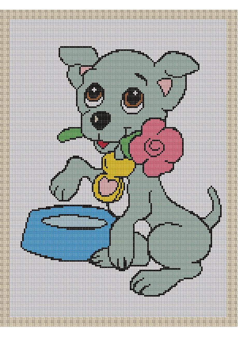 Puppy Love Color Graph Afghan Pattern