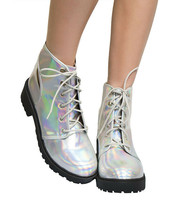 Qupid Valiant-03A Slingback Cut Out Lace-Up Booties, Silver Holographic, US 6.5 - $34.64
