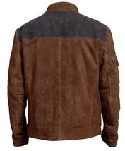 Han Solo A Star Wars Story Warrior Alden Ehrenreich Brown Suede Leather Jacket image 4