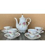 "Vintage Floral Tea Pot Set w/4 Cups (2""H) and Saucers Gold Trim Register... - $42.08"