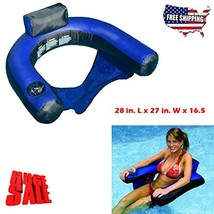 Floating Pool Chairs And Lounges With Backrest Cup Holder Inflatable Sea... - $42.11