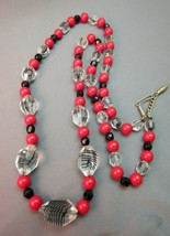 Art Deco Necklace Clear Faceted Crystal Beads w Black Lines Red Round Strand Vtg - $29.69