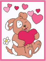 Valentine Pup Crochet Graph Afghan Pattern - $5.00