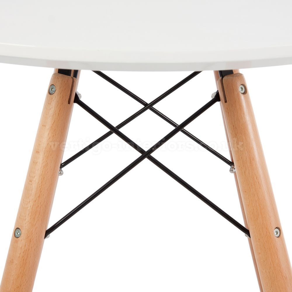 mid century modern designer style white round cafe dining table wood eames legs tables. Black Bedroom Furniture Sets. Home Design Ideas