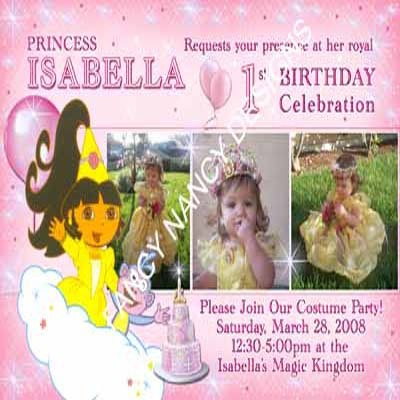 Primary image for Dora The Explorer Go Diego Go Princess Custom Photo Birthday Party Invitations