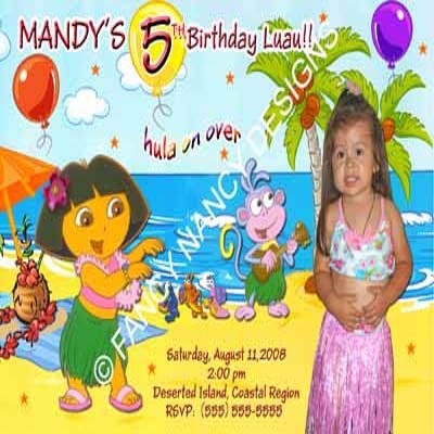 Primary image for Dora The Explorer Go Diego Go Beach Luau Boots Photo Birthday Party Invitations