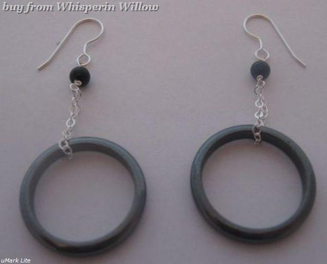 Hematite and Black Onyx Dangle Earrings