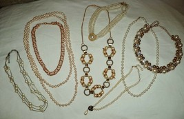 Lot of 8 Pearl & Gold Tone Necklaces All Lengths - $14.72