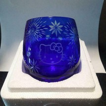 Sanrio Hello Kitty glass Kiriko Tilted Blue Beautiful Fireworks New In B... - $58.00