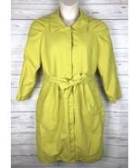 Victor Alfaro Trench Coat Women's 12 Green Below Knee Jacket Cotton Line... - $50.99
