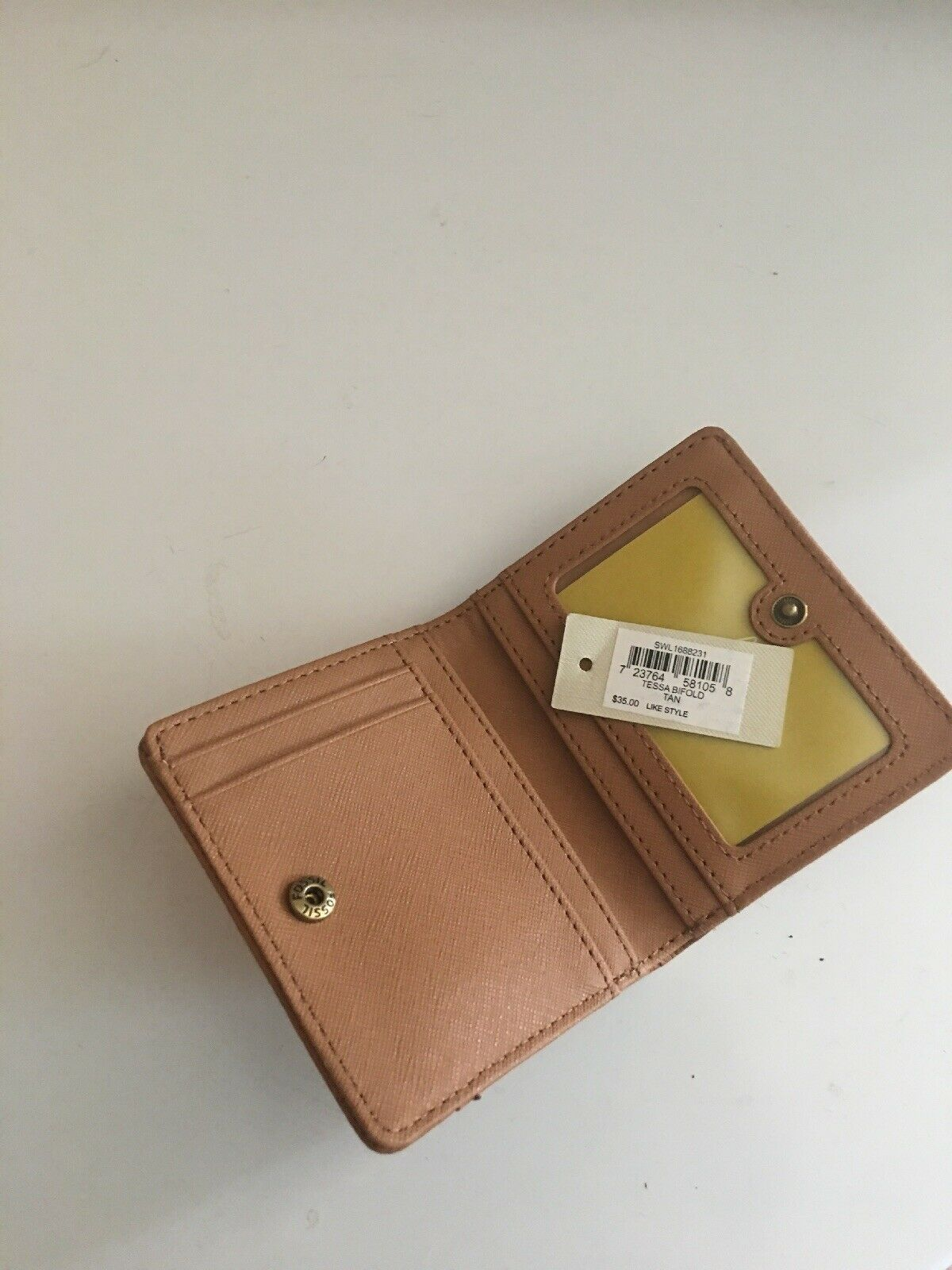FOSSIL TESSA Leather Bifold Wallet Women's Medium Cognac New NWT image 4