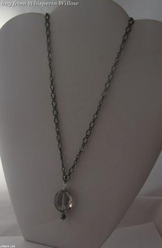 Primary image for Gun Metal Necklace with Hematite Beads and Crystal Drop Pendant