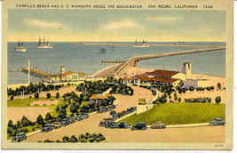Cabrillo Beach California United States Naval Warships Post Card - $5.00
