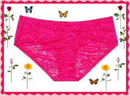 LARGE  Bright Pink Victorias Secret Ruched FULLBack Lace Stretch Hiphugg... - $10.99