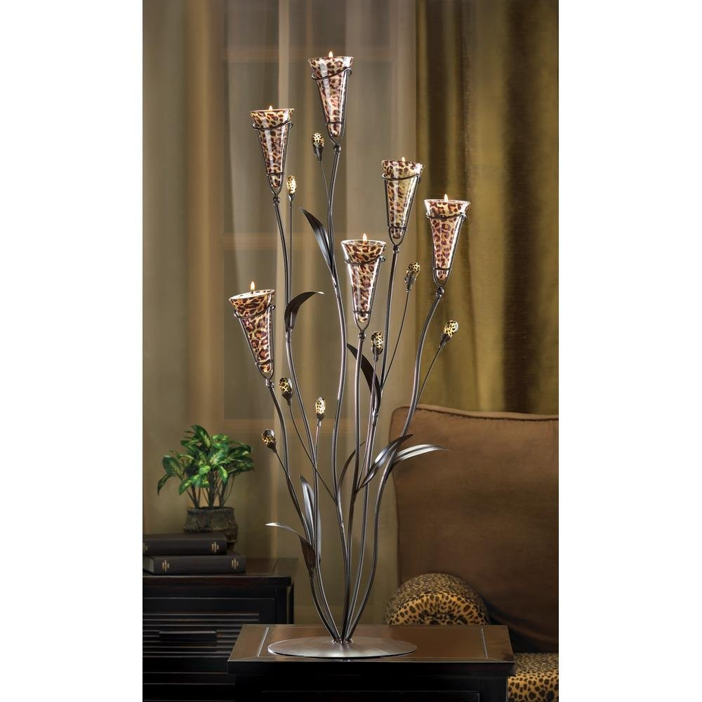 Iron Candle Holder, Decorative Leopard Lily Tall Flowered Candle Holders Set
