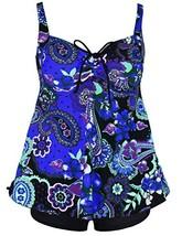 Firpearl Women's Paisley Print Plus Size Tankini Swimwear Swimsuit 12 Ro... - $30.84