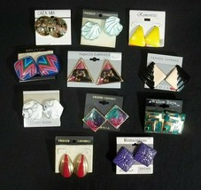 Vintage 1980's Pierced Earrings Lot of 11 Pairs on Cards - $19.75