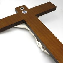 WALL CRUCIFIX, WOOD, SILVER CHRIST SMOOTH AND SATIN, 10 INCHES, MADE IN ITALY image 4