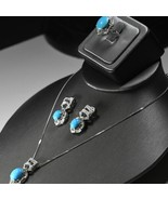 18K White Gold Persian Turquoise & Diamond jewelry Set 1.75tdw Excellent... - $3,995.00
