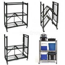 Wire Storage Rack with Wheels Folding 3-Shelf Steel Organizer Garage Office - $1.168,71 MXN