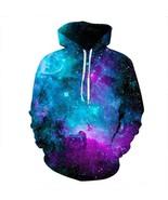Man's Galaxy Printed Long Sleeve Color Block and Pink Hoodie Sweatshirt - $30.87